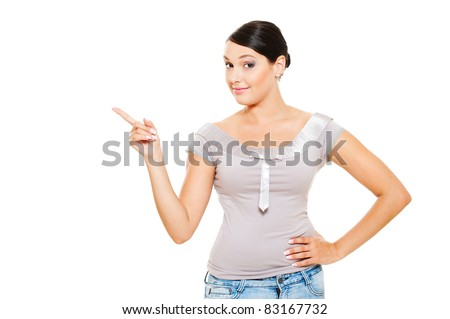 portrait of smiley model pointing at something. isolated on white background - stock photo