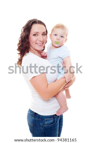 portrait of smiley mother holding her son on hands over white background - stock photo