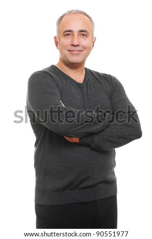 portrait of smiley senior man. isolated on white background - stock photo