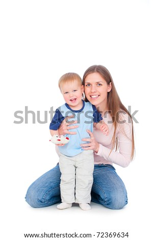 portrait of smiley woman and joyous baby. isolated on white - stock photo