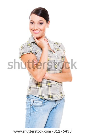 portrait of smiley woman in checked blouse. isolated on white background - stock photo