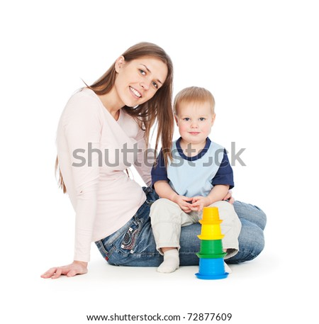 portrait of smiley woman with baby. isolated on white - stock photo