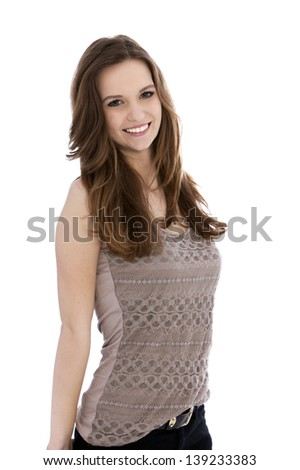 Portrait of smiling beautiful womans face isolated on - stock photo