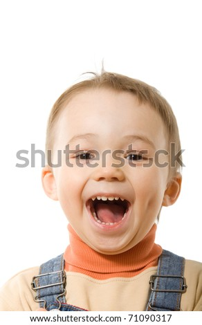 Portrait of smiling boy in casual. Isolated over white - stock photo