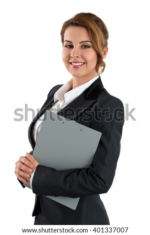 Portrait of smiling business woman holding clipping pad with documents isolated on white background. Female wearing grey formal suit. Business meeting, education, lifestyle and success concept - stock photo