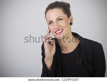Portrait of smiling business woman phone talking , isolated on white background - stock photo