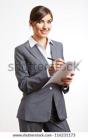 Portrait of smiling business woman with paper, isolated on white background - stock photo