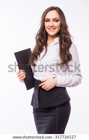 Portrait of smiling businesswoman keeping folder, isolated on white. Concept of leadership and success. Businesswoman at presentation.  - stock photo