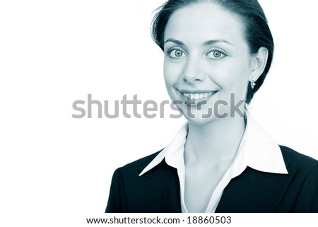 Portrait of smiling businesswoman looking at camera - stock photo