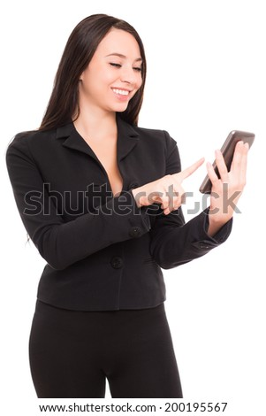 Portrait of smiling businesswoman with smartphone. Isolated on white - stock photo