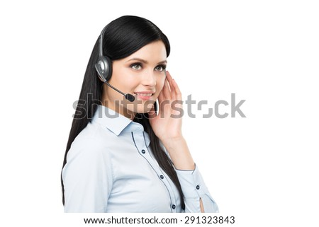 Portrait of smiling cheerful support phone operator in headset. Isolated. - stock photo