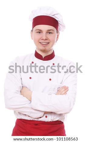 Portrait of smiling chef over white background - stock photo