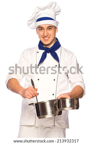 Portrait of smiling cook chef with kitchenware isolated on white background - stock photo