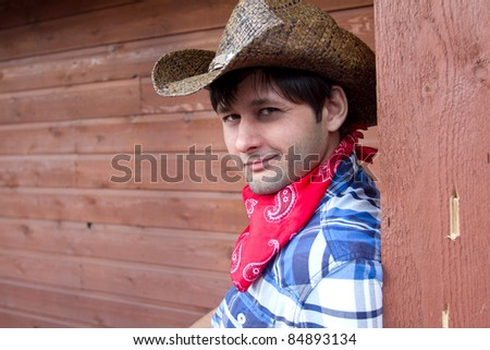 Portrait of Smiling Cowboy, Calgary Stampede 2011, Alberta, Canada - stock photo