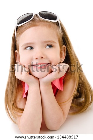 Portrait of smiling cute little girl isolated over white - stock photo