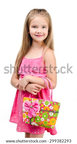 Portrait of smiling cute little girl with bag isolated on a white - stock photo