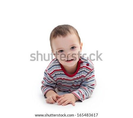 portrait of smiling happy child isolated on white background - stock photo