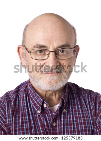 Portrait of smiling old man wearing eye glasses against white background - stock photo