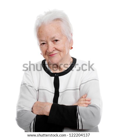 Portrait of smiling old woman on white background - stock photo