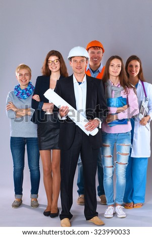 Portrait of smiling people with various occupations  - stock photo