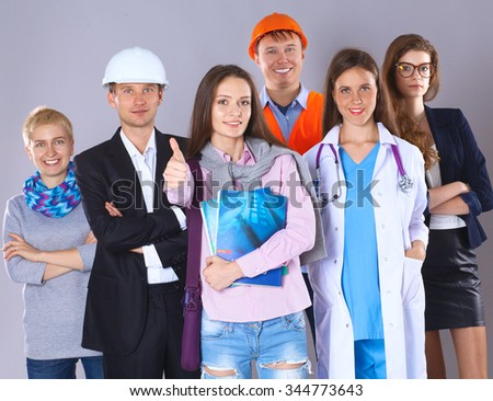 Portrait of smiling people with various occupations and showing ok - stock photo