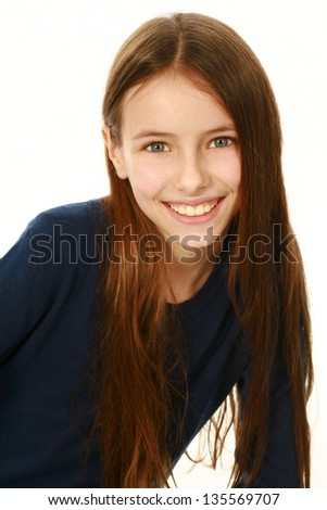 portrait of smiling preteen girl isolated on white - stock photo