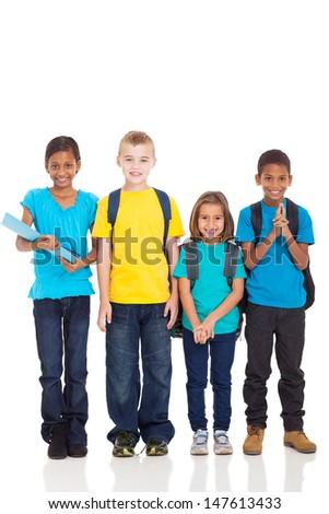 portrait of smiling school children standing on white background - stock photo