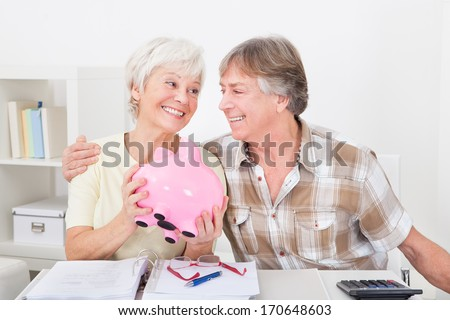 Portrait Of Smiling Senior Couple Saving Money In The Pink Piggybank - stock photo