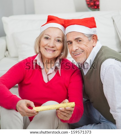 Portrait of smiling senior couple with Christmas present sitting at home - stock photo