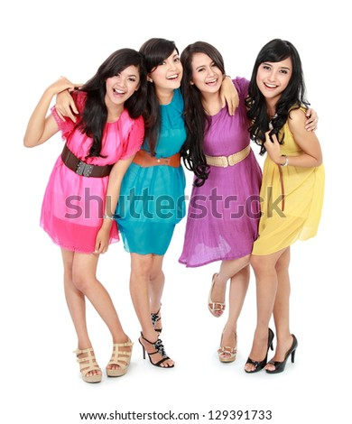 portrait of smiling teenage girls having fun together - stock photo