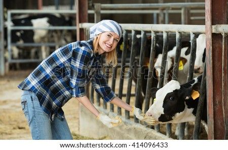 Portrait of smiling veterinary technician feeding cows in farm - stock photo