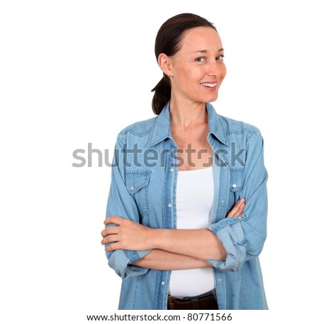 Portrait of smiling woman on white background - stock photo