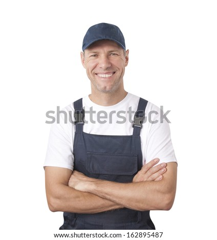 Portrait of smiling worker in blue uniform isolated on white background - stock photo