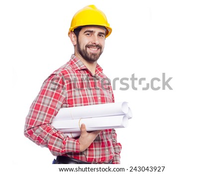 Portrait of smiling young architect holding blueprints on white background - stock photo