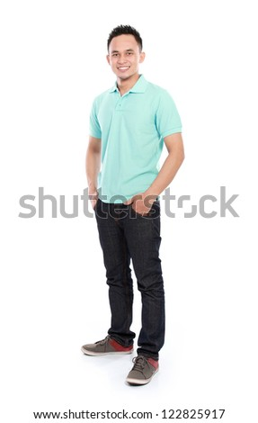 portrait of smiling young asian man isolated over white background - stock photo