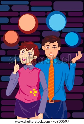 Portrait of smiling young couple standing together. Several blank bubbles over their head. - stock photo