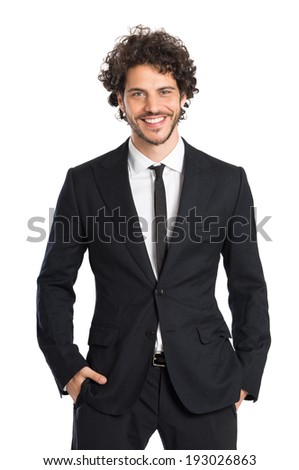 Portrait Of Smiling Young Elegant Man Isolated On White Background - stock photo