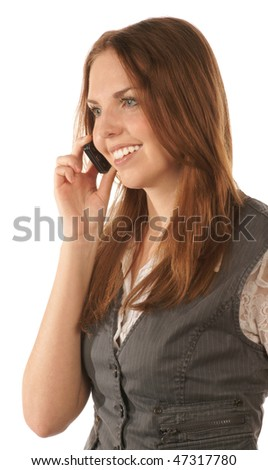 Portrait of smiling young woman with mobile phone - stock photo