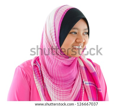 Portrait of Southeast Asian Muslim girl smiling, isolated on white background - stock photo