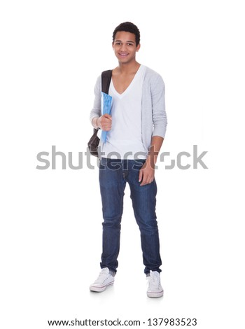 Portrait Of Student Man Isolated Over White Background - stock photo
