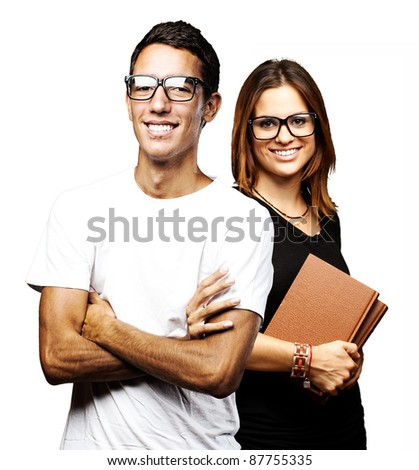 portrait of students group smiling over white background - stock photo