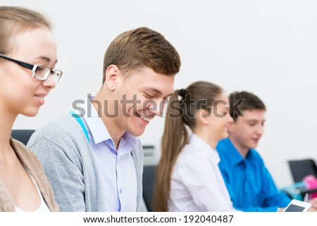 portrait of students in the classroom, teaching at the University of - stock photo