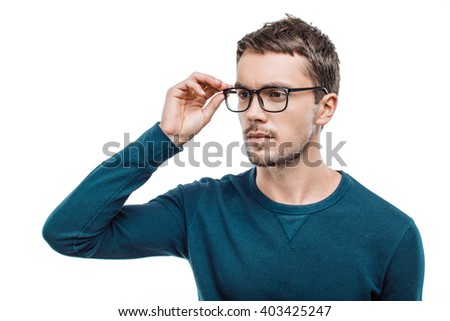 Portrait of stylish handsome young man isolated on white background. Man wearing glasses - stock photo