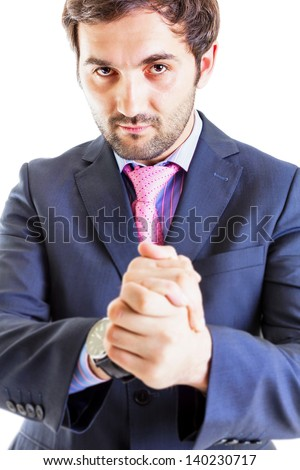 Portrait of succesful businessman rubbing his hands isolated on white. Focus on face. - stock photo