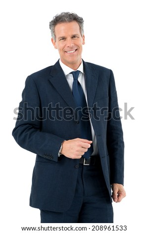 Portrait Of Succesful Mature Man Looking At Camera Isolated On White Background - stock photo