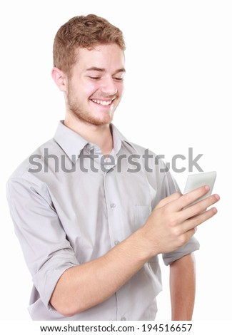 portrait of Successful business man using mobile phone on white background - stock photo
