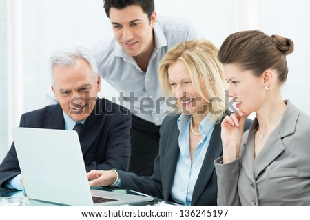 Portrait Of Successful Business People During a Conference - stock photo