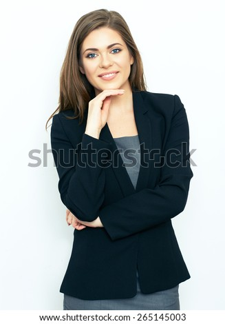 Portrait of successful business woman on white. - stock photo