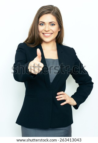 Portrait of successful business woman on white background showing thumb up. Professional portrait. - stock photo
