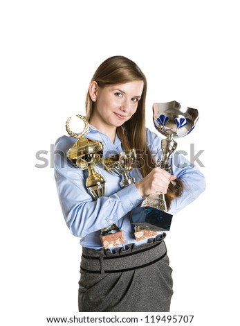 Portrait of successful business woman with trophy. - stock photo